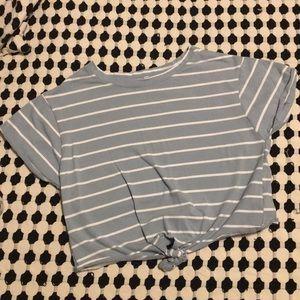 Tops - Striped crop top tie front 90s